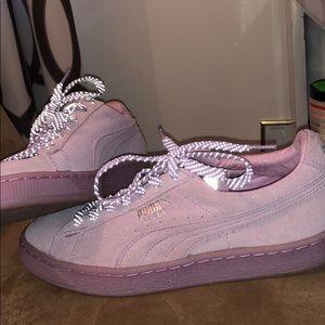 Purple puma with reflective shoe laces